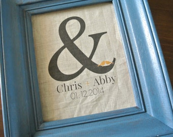 Personalized Print, Rustic decor, Wedding Couple print, Ampersand Graphic Linen Print, Wedding Gift, anniversary Gift, Couple Print, Linen