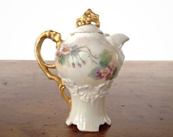 Antique child's chocolate pot, Victorian vintage German miniature porcelain china toy dishes, white, gold, pink roses, green, iridescent