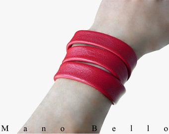SALE Ruby Red Lambskin 3  Wrap Bracelet Cuff, Rouge, Minimalist Leather, custom made to fit you