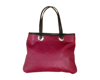 Burgundy Leather tote , Everyday bag , Handmade leather bag , Wine leather bag , Shoulder bag , Industrial grommets bag & black only one