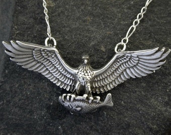 Sterling Silver Eagle with Salman Pendant on a Sterling Silver Chain.