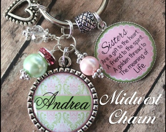 light pink/light green damask ...Mom/Grandma/Sister  keychain...xmas accessories...Christmas keychain..gifts for grandma...charm jewelry