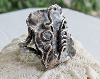 Vintage Silver 835 Abstract Modernist Handmade Handarbeit Ring Size 5.75