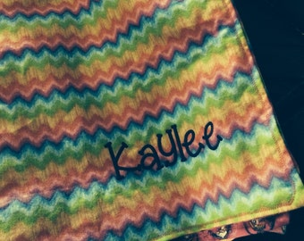 Blanket flannel great to take to day care or grandmas. Can be personalized