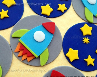 12 ROCKET and STARS. Edible Cupcake Toppers