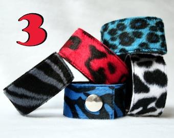 Package! 3 Fake Fur Cuffs - zebra or leopard pattern punk wristband cheetah