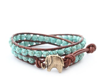 Turquoise Lucky Elephant Button Leather Wrap Bracelet- Natural Stone - the Lucky Elephant Exclusive