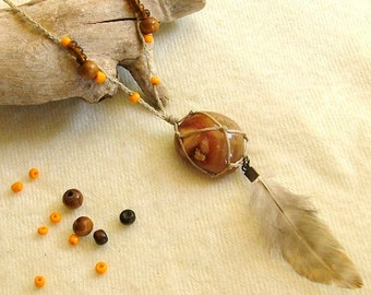 Orange Agate necklace - pouch stone necklace with a fluffy feather and beads - healing necklace