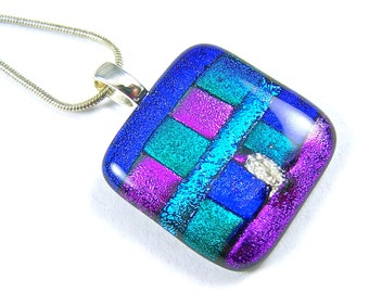 Pet Cremation Ashes Jewelry - Dichroic Pendant - Purple Blue Green Fused Glass - Patchwork Block Style Memorial - Custom Size and Color