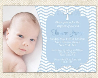 Blue Baptism invitations, Christening invitations, Boy Baptism invitations, Naming Day invitations