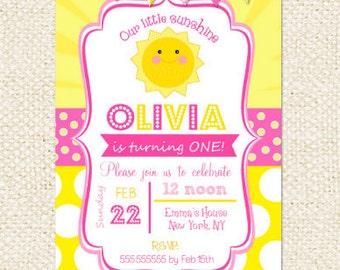 Sunshine Birthday Invitations, You are my sunshine invitations