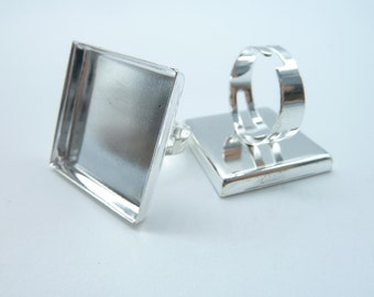 5pcs 25x25mm Silver Plated Square  Cameo Cabochon Base Setting Ring C3170