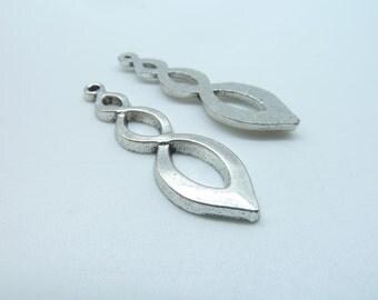 15pcs 11x37mm Antique Silver Filigree Twisting Symbol Drop Charms Pendant  C3273