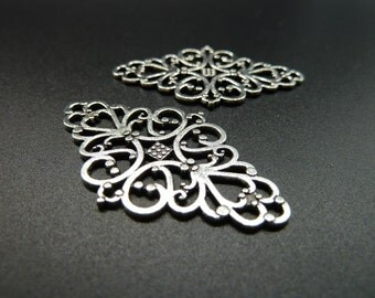 10pcs 25x41mm Antique Silver Huge Filigree Flower Connector Link Base Settings C3604