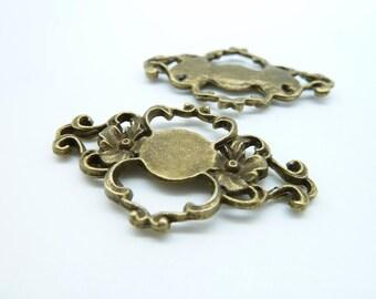 8pcs 27x43mm Antique Bronze Thick Flower Connector Charm Pendant c4275