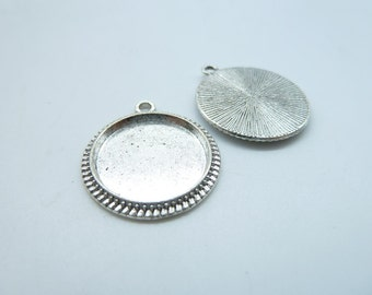 20pcs 20x23mm-16mm Antique Silver Round Cameo Cabochon Base Setting C4585
