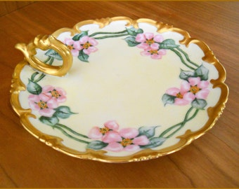 Antique Bavarian Porcelain Nappy Serving Tray Hand Painted Pink Roses/Gold-June SALE