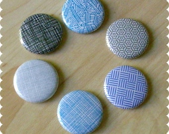 Security Envelope Texture Pins, Magnets, or Thumb Tacks - Set of 6 - Home, Office, Abstract, Gift For Him