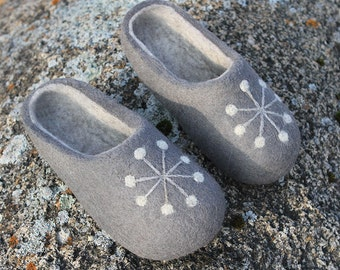 Shoes size U.S.W 8 1/2; U.K.W 6; EU 39 ready to ship! Hand Felted Wool Slippers  in Gray with light gray inside.