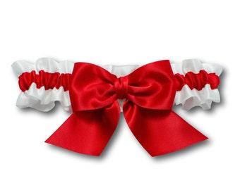 Wedding garter - bridal garter - red and white garter - red satin garter - red prom garter - bright red garter set - red and white garter