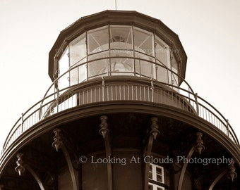 lighthouse art photo, architectural art, St. Augustine light house, nautical, vintage beach decor, sepia