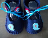 Blue Birds on Navy Hand Stitched Felt  Baby  Shoes