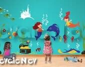 Under the Sea Nursery Wall Decals - Mermaids, Underwater Castle, Dolphin, Octopus, Stingray, Sea Turtles, Crabs & Treasure Chest - PLMRM070