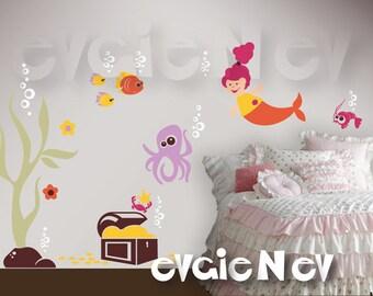 Under the Sea Nursery Wall Decals - Mermaid, Octopus, Seaweed, Crabs & Treasure Chest - PLMRM010