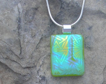 Lime Green Pendant Fused Dichroic Glass Lime Green Necklace