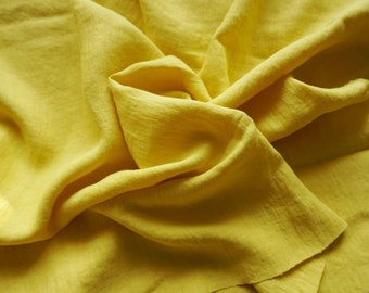 Pure Soft Linen fabric with softening- deep yelow with green feeling