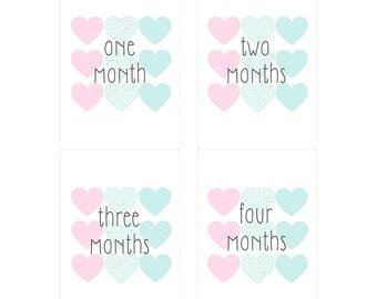 Monthly Milestone Baby Girl Heart Onesie Stickers