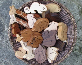 PICK ANY TEN Wooden Toy Animals - Wood Toys - all natural teethers and Waldorf toddler toys