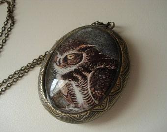 Owl Medicine Totem Locket Pendant Necklace Forest Woodland Gold OOAK Artwork