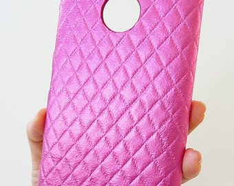 For Nokia Lumia 1520 Hot Pink Diamond Quilted Leather Cellphone Cell Phone Mobile cellular smartphone snap on Hard case Cover card