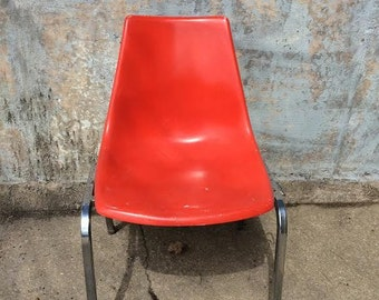 Have a Seat... Vintage Krueger Fiberglass Orange Shell Chair - Mid Century Modern, Retro Chair