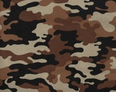Desert Army Camo - Brown, Chocolate Brown, Tan and Black Camo - Cotton