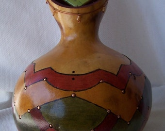 Large gourd box, wood burned and dyed, copper accents. 1346.