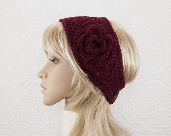 Crochet headband, women's headwrap, adult ear warmer - wine, burgundy - winter accessories handmade by Sandy Coastal Designs made to order