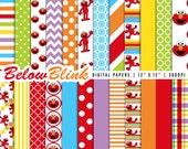 Elmo Digital Paper Pack, Scrapbooking Papers, 24 jpg files 12 x 12 - Instant Download - DP295