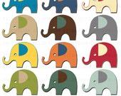Cute Elephants Clipart Clip Art Digital Scrapbooking Commercial Use - printable clipart - Instant Download  - DP303