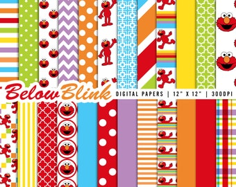 Elmo Digital Paper Pack, Scrapbooking Papers, 24 jpg files 12 x 12 - Instant Download - DP295