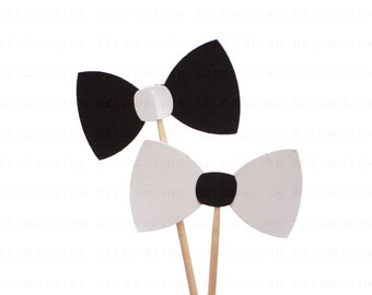 24 Mixed White and Black Bow Tie Party Picks, Cupcake Toppers, Food Picks, Toothpicks, Drink Picks - party supplies - No1050