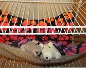 "EX-Large (17""x19"") Double Layered Hammock, Guinea Pigs, Ferrets, Rabbits, Chinchillas, Rats, Cats, Dogs, Raccoon's, Rainbow Pawprint Fleece"