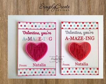 Sale DIGITAL Valentine Card A-maze-ing Valentine Personalized DIGITAL Pdf file