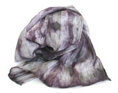 SALE   ...    large hand dyed silk scarf  ... shades of pewter and violet