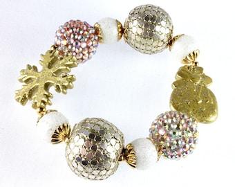 Christmas Chunky Bracelet, Gold and White, Winter Bracelet, Stretch Bracelet