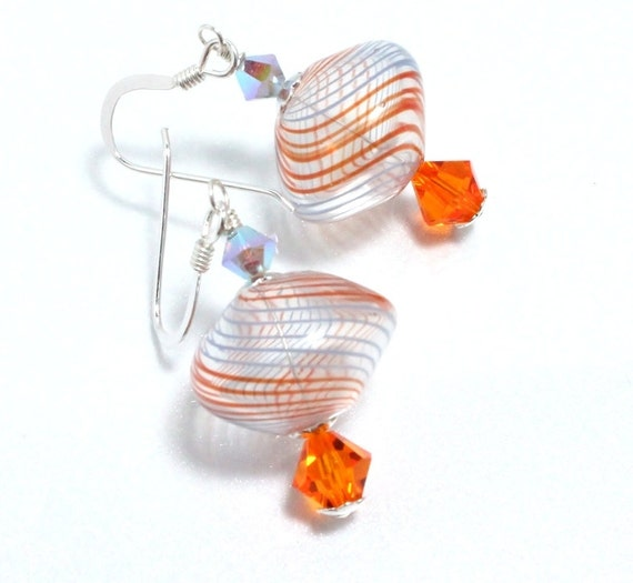 Hand Blown Glass, Swarovski Crystal and Sterling Silver Earrings