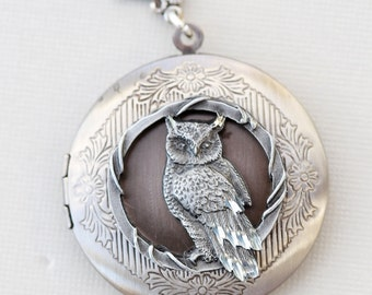 Locket,Owl Locket,Moonlight Owl,jewelry gift,Silver locket-I love you to the moon and back ,Valentine's Gift,Bridesmaid,Wedding Necklace