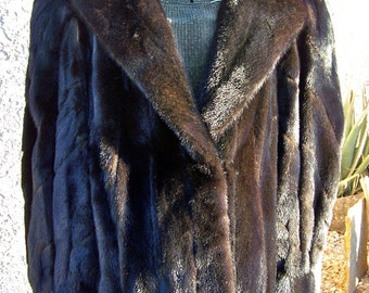 Vintage Mink Jacket Dark Brown Genuine Mink Fur Coat Luxurious Mink Hollywood Glam Winter Coat ca. 1975