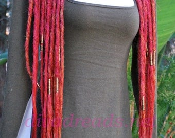Mixed Reds  Dread Lock Falls with long Gold Beading